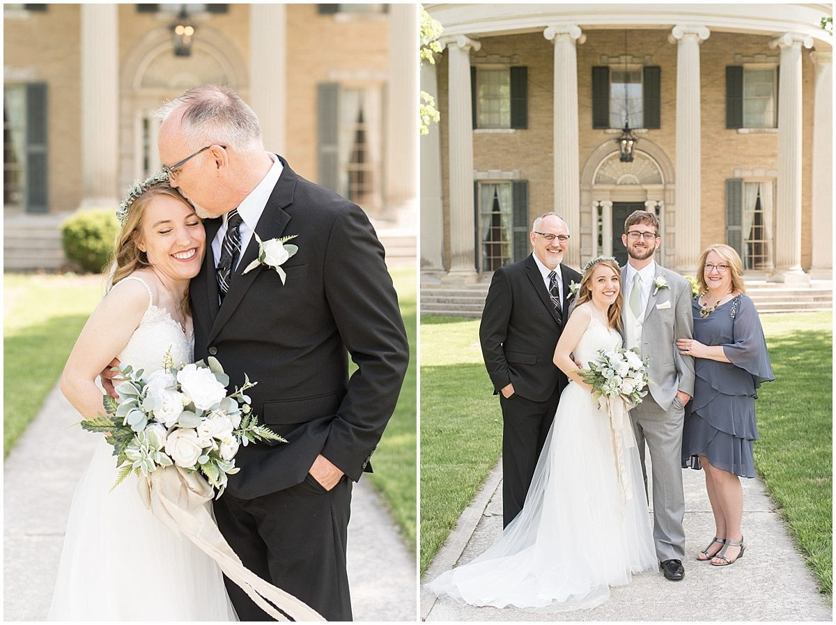 A bride with her father and the bride and groom with the bride's parents. Photos like these should be included on your family photo shot list for your wedding day.