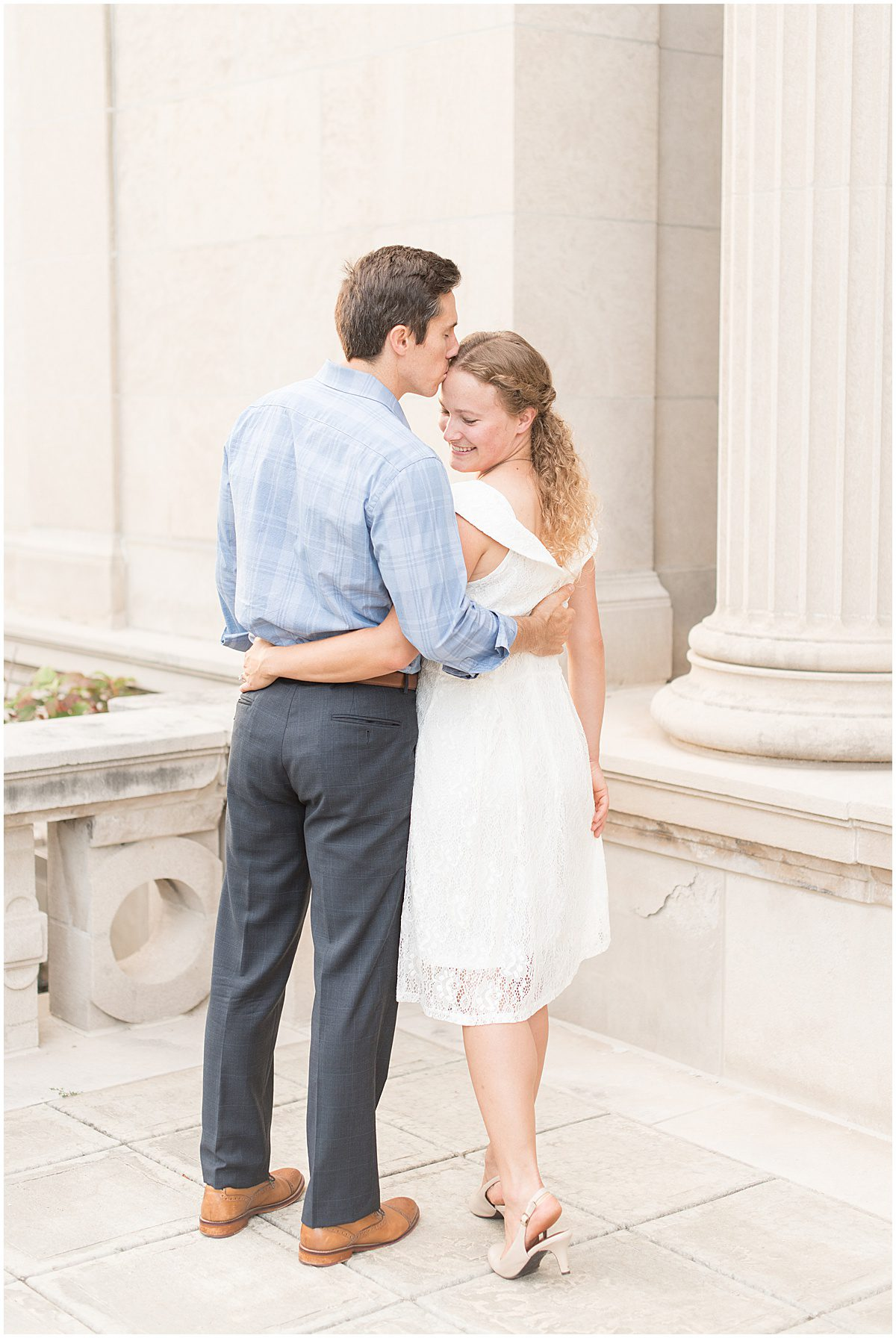 Andrew Mahoney and Julie Feldpausch opted for summer engagement photos in downtown Lafayette, Indiana