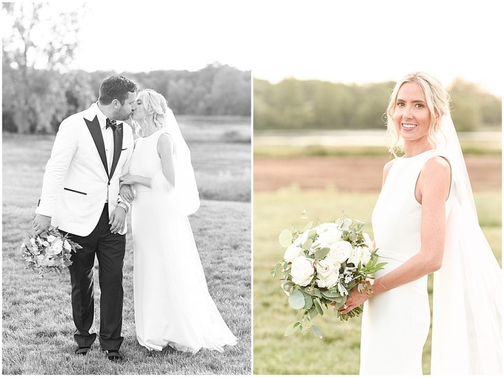 Sunset photos at an outdoor wedding with greenery in Rochester, Indiana