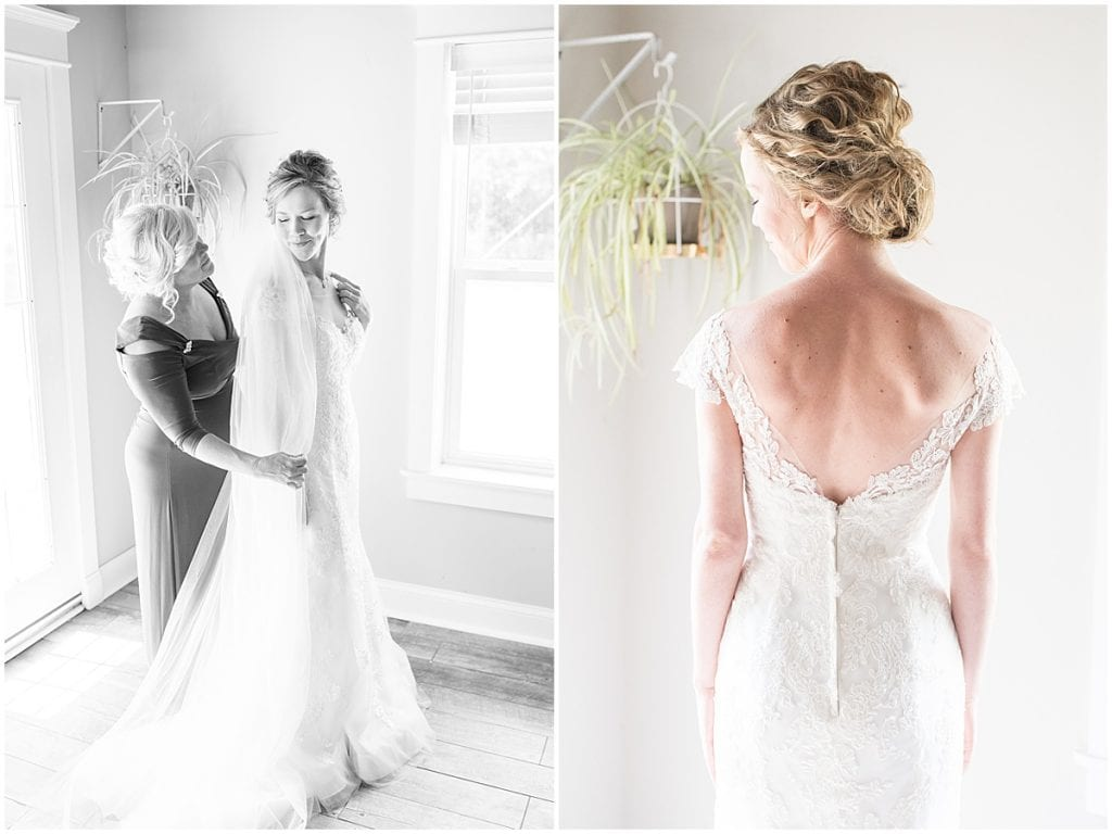 Bride getting ready for wedding at The Matterhorn in Elkhart, Indiana
