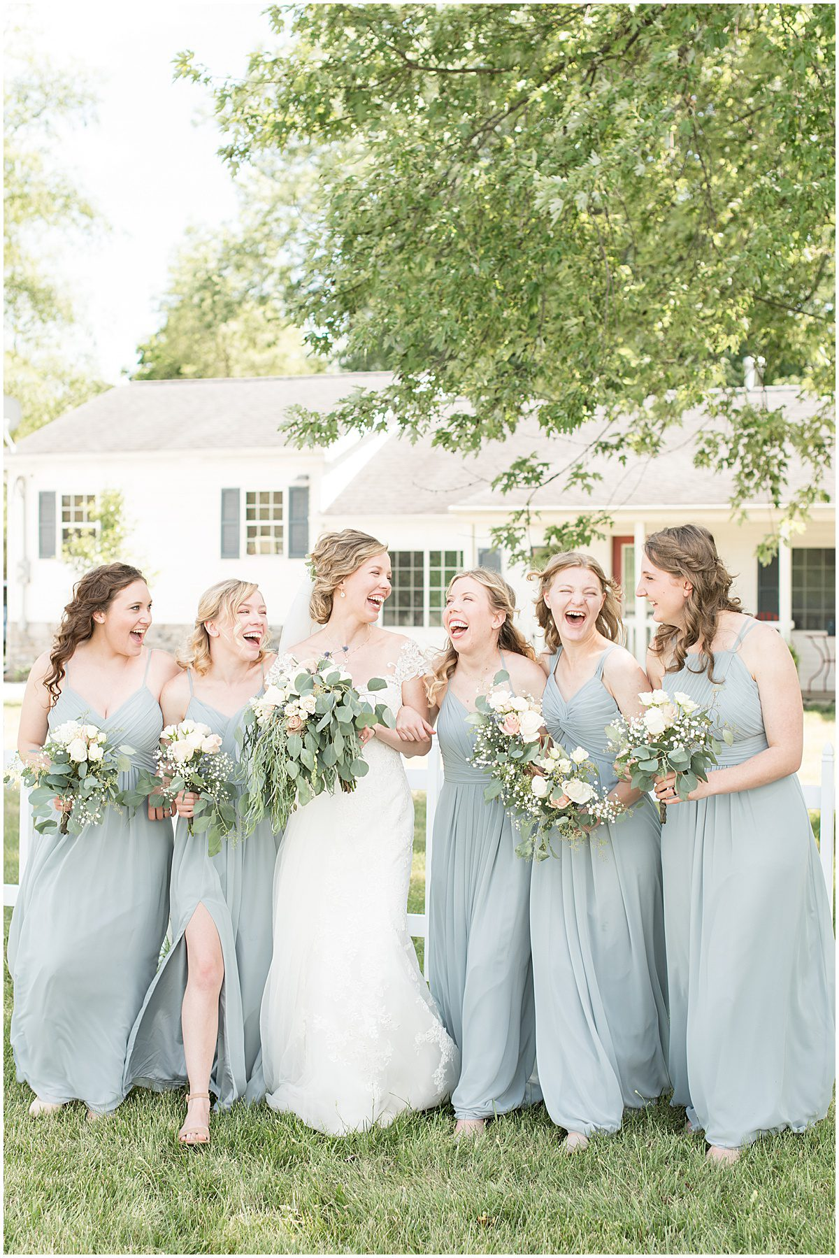 Bridal party photos before wedding at The Matterhorn in Elkhart, Indiana