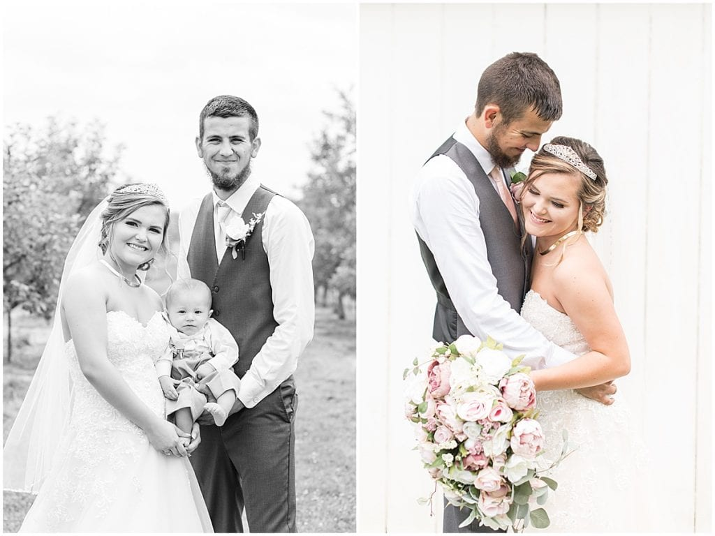 Bride and groom with son at wedding at Wea Creek Orchard in Lafayette, Indiana