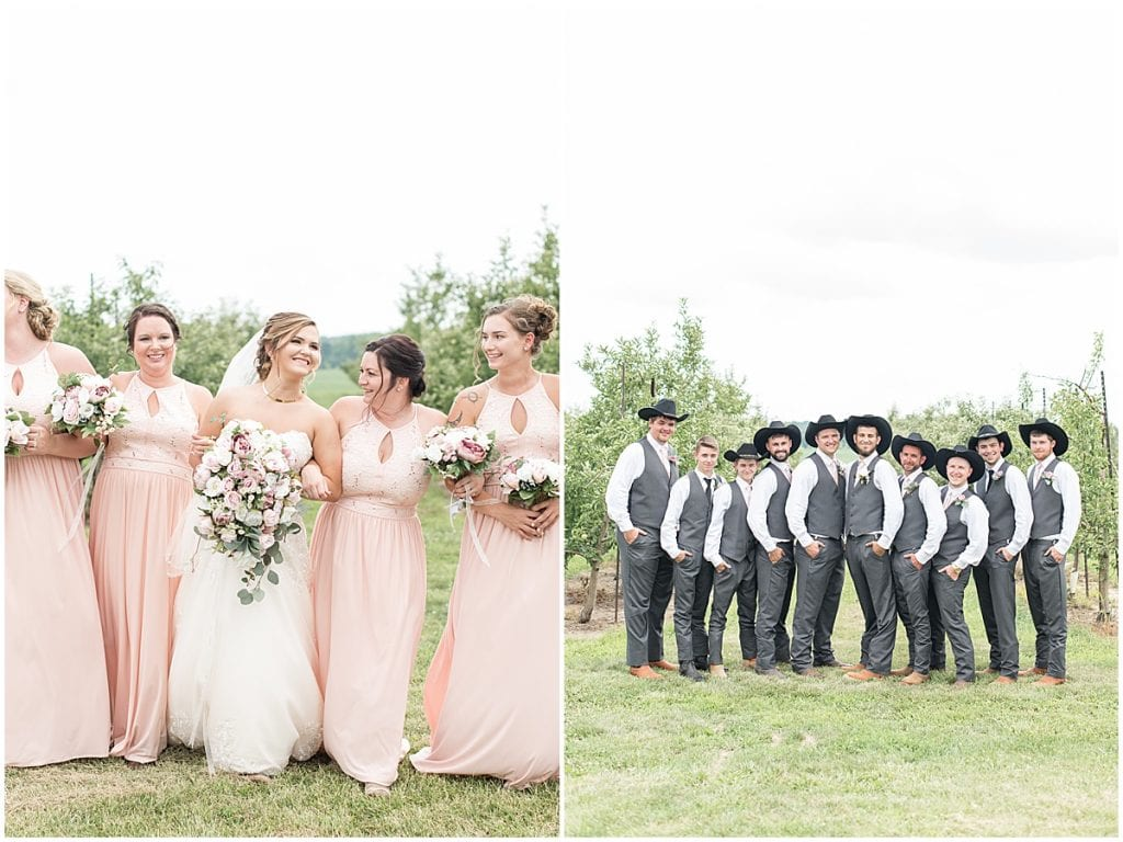 Bridal party photos at Wea Creek Orchard in Lafayette, Indiana