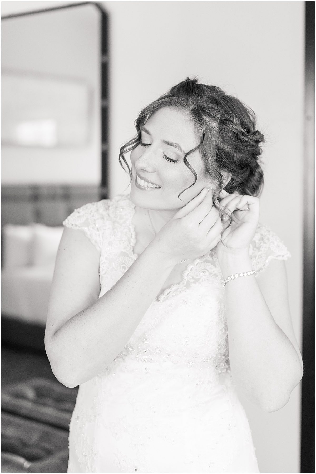 Bride getting ready for wedding at Ironworks Hotel in Indianapolis