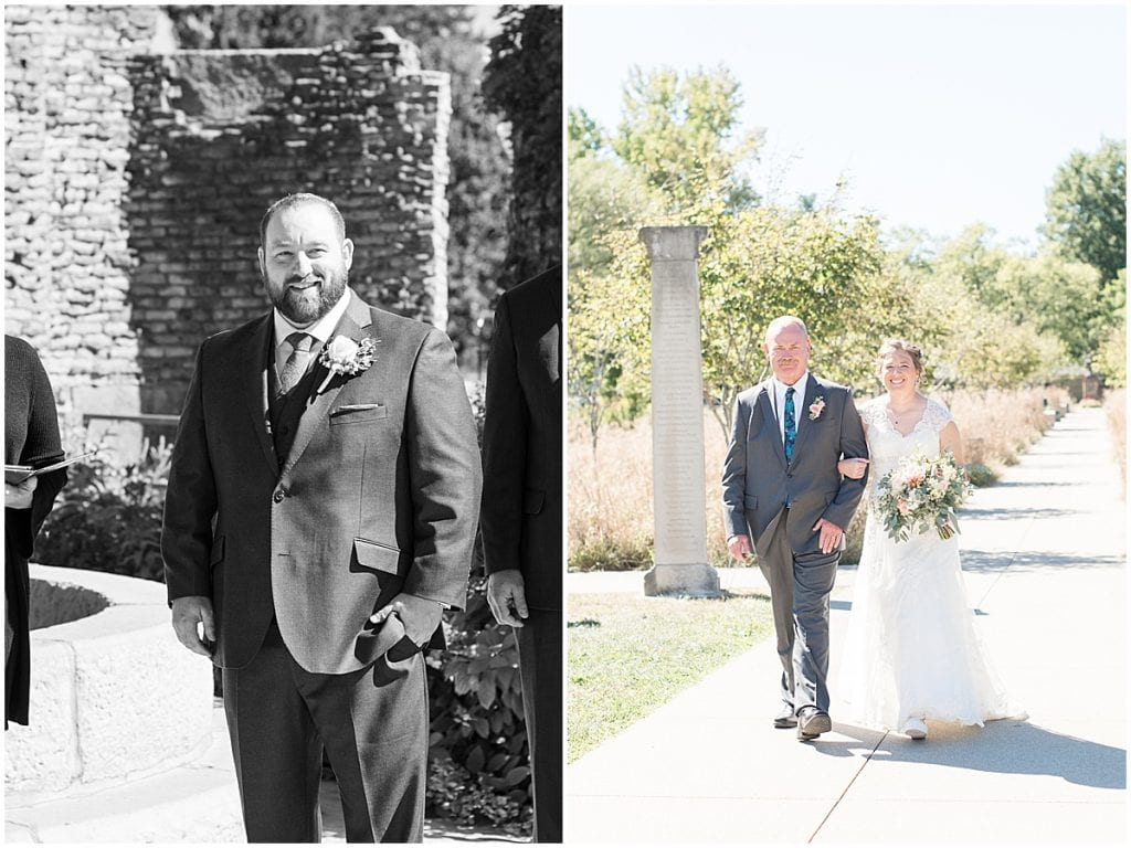 Ceremony for intimate wedding at Holliday Park in Indianapolis