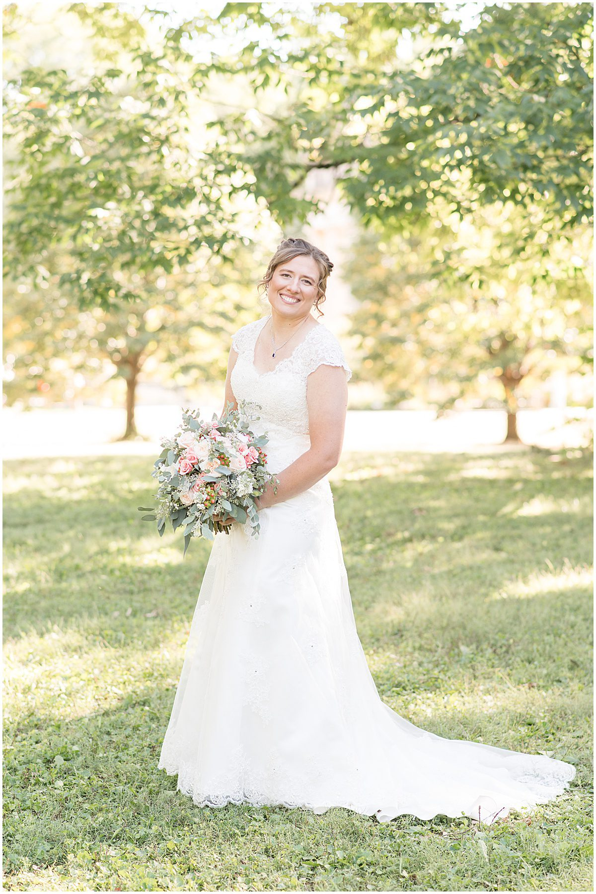 Bridal photos for intimate wedding at Holliday Park in Indianapolis