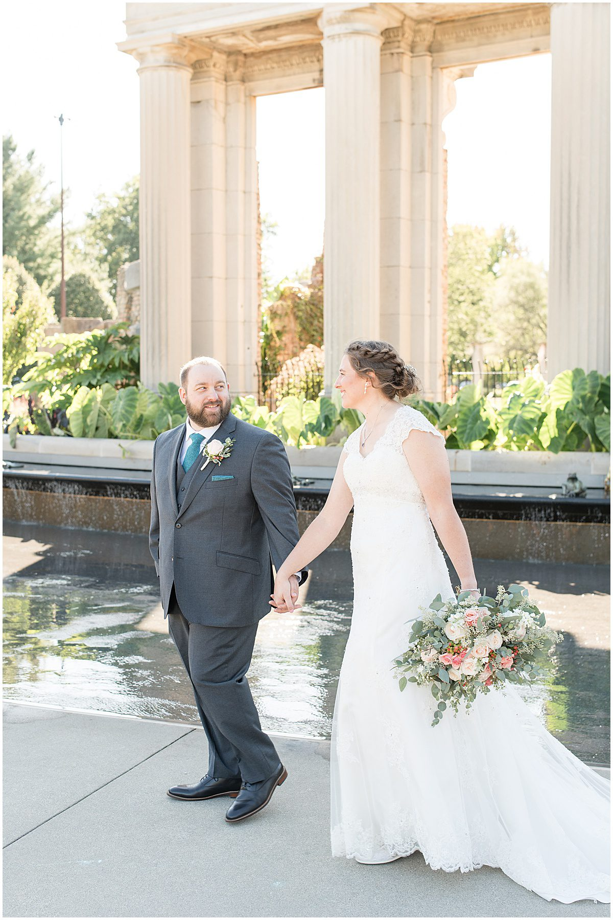 Couple photos for intimate wedding at Holliday Park in Indianapolis