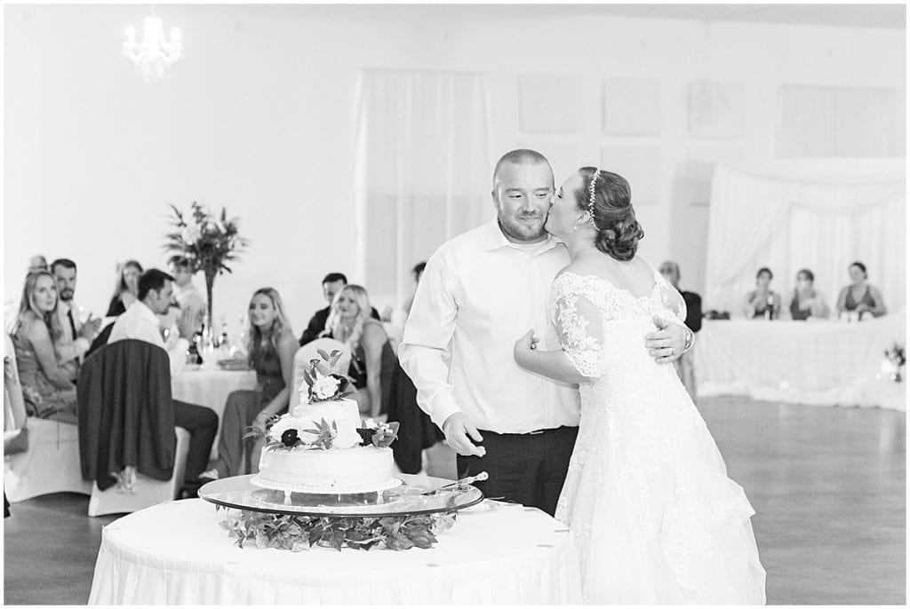 Cutting the cake photos at Meadow Springs Manor wedding in Francesville, Indiana