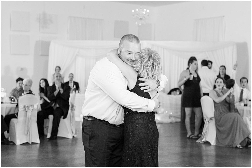 Mother son dance photos at Meadow Springs Manor wedding in Francesville, Indiana