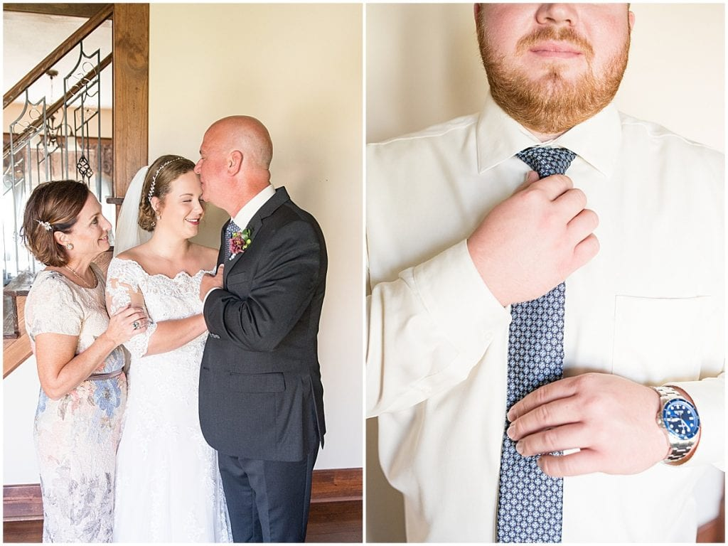 Father daughter first look photos at Meadow Springs Manor wedding in Francesville, Indiana