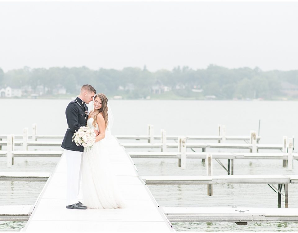 Couple portraits by the water at the Lighthouse Restaurant in Cedar Lake, Indiana