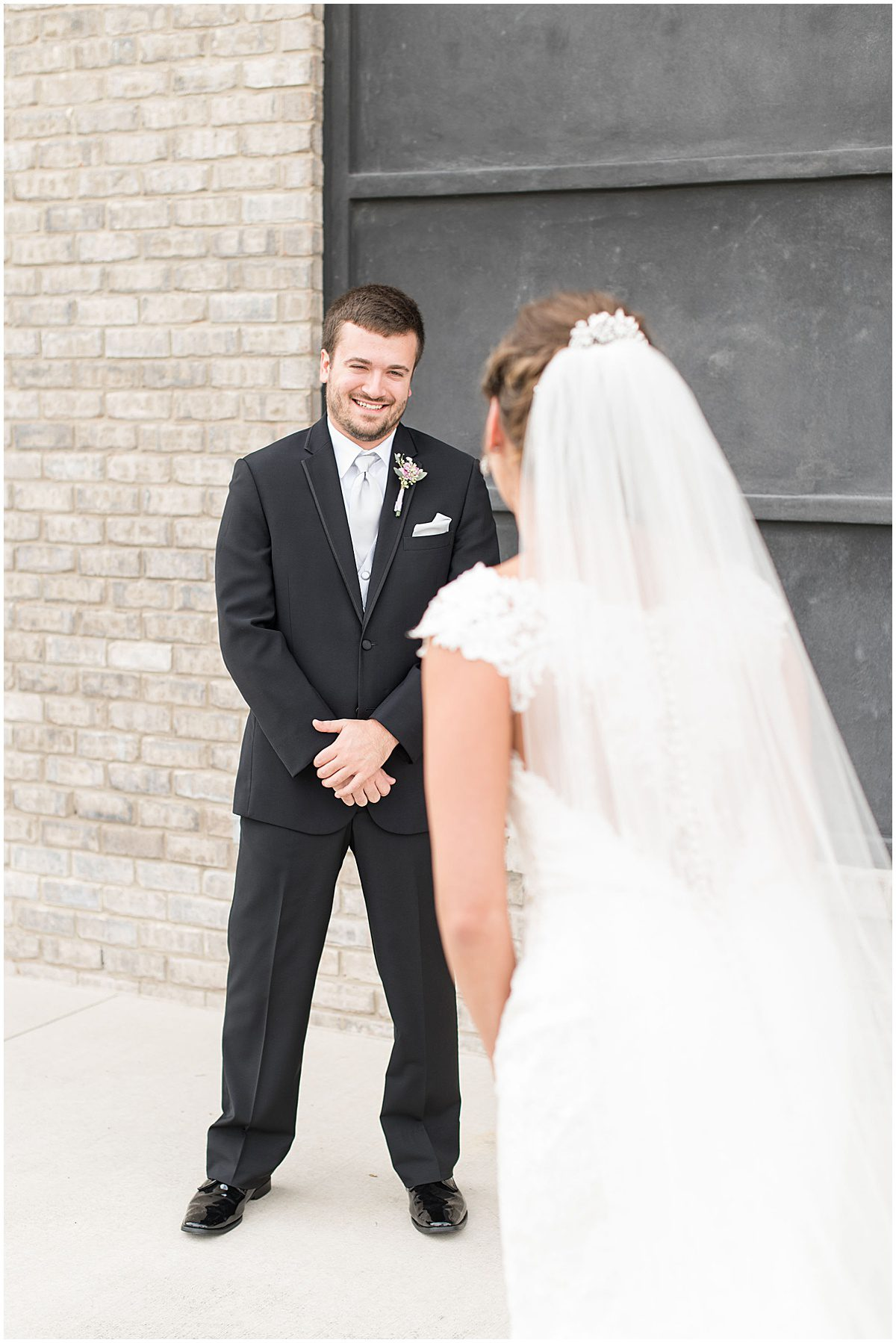 First look before Bel Air Events wedding in Kokomo, Indiana by Victoria Rayburn Photography