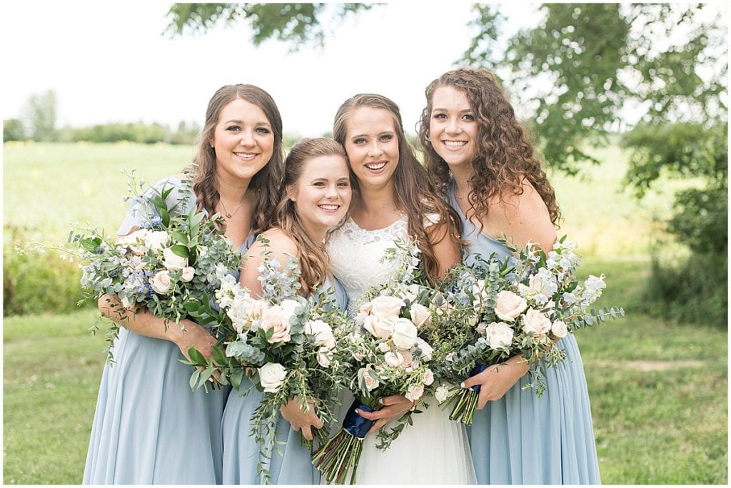 Bridal party photos before The Blessing Barn in Lafayette, Indiana by Victoria Rayburn Photography