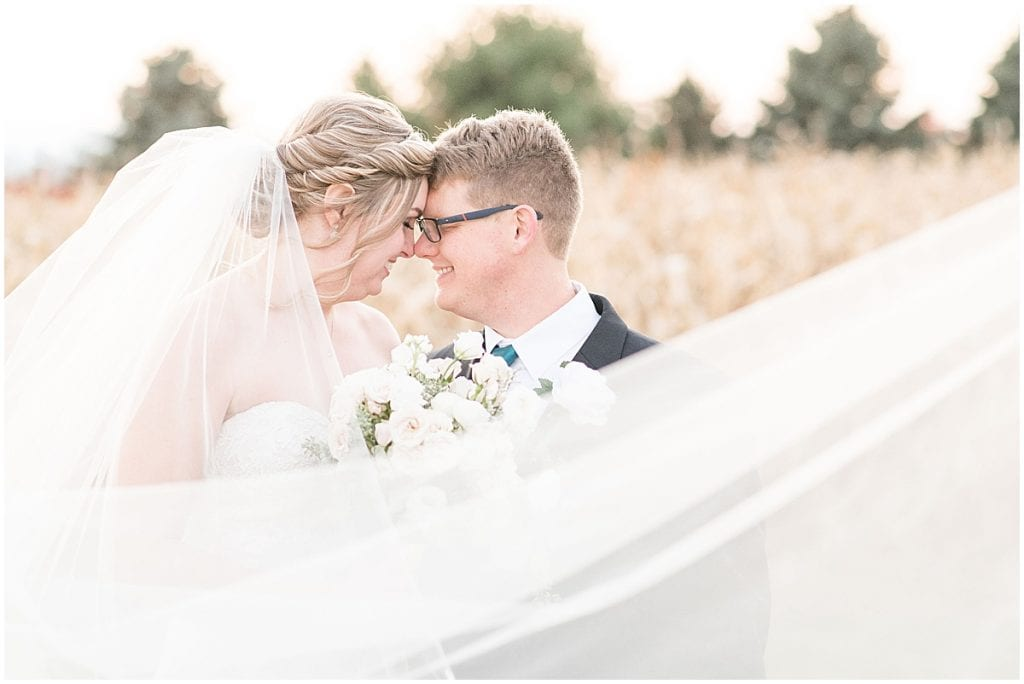 Just married photos outside Cornerstone Christian Church wedding in Brownsburg, Indiana by Victoria Rayburn Photography