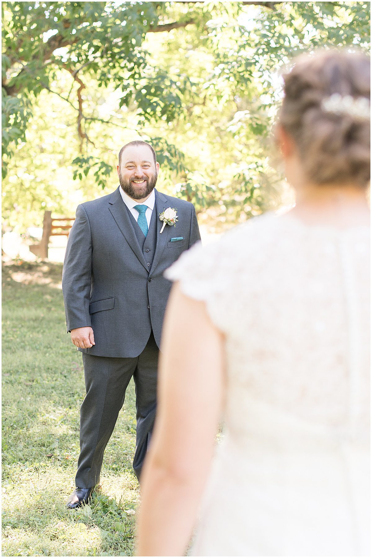 First look before intimate wedding at Holliday Park in Indianapolis by Victoria Rayburn Photography