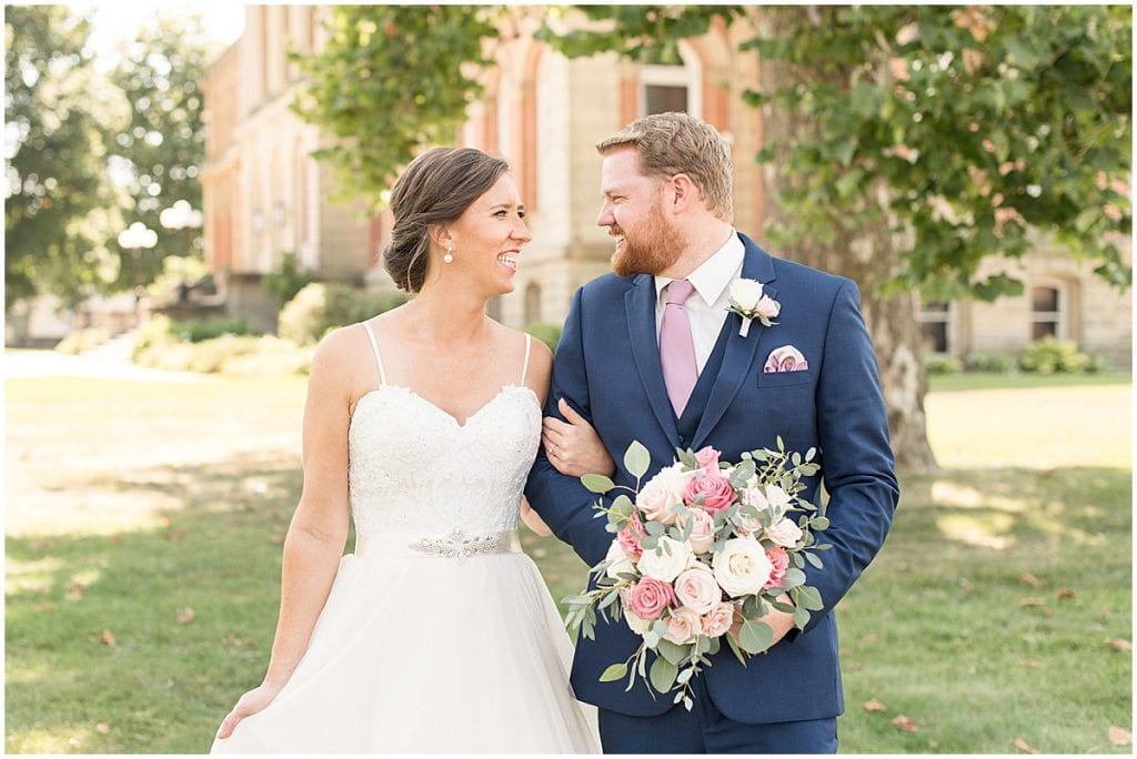 Bride and groom portraits outside Spohn Ballroom wedding in Goshen, Indiana by Victoria Rayburn Photography