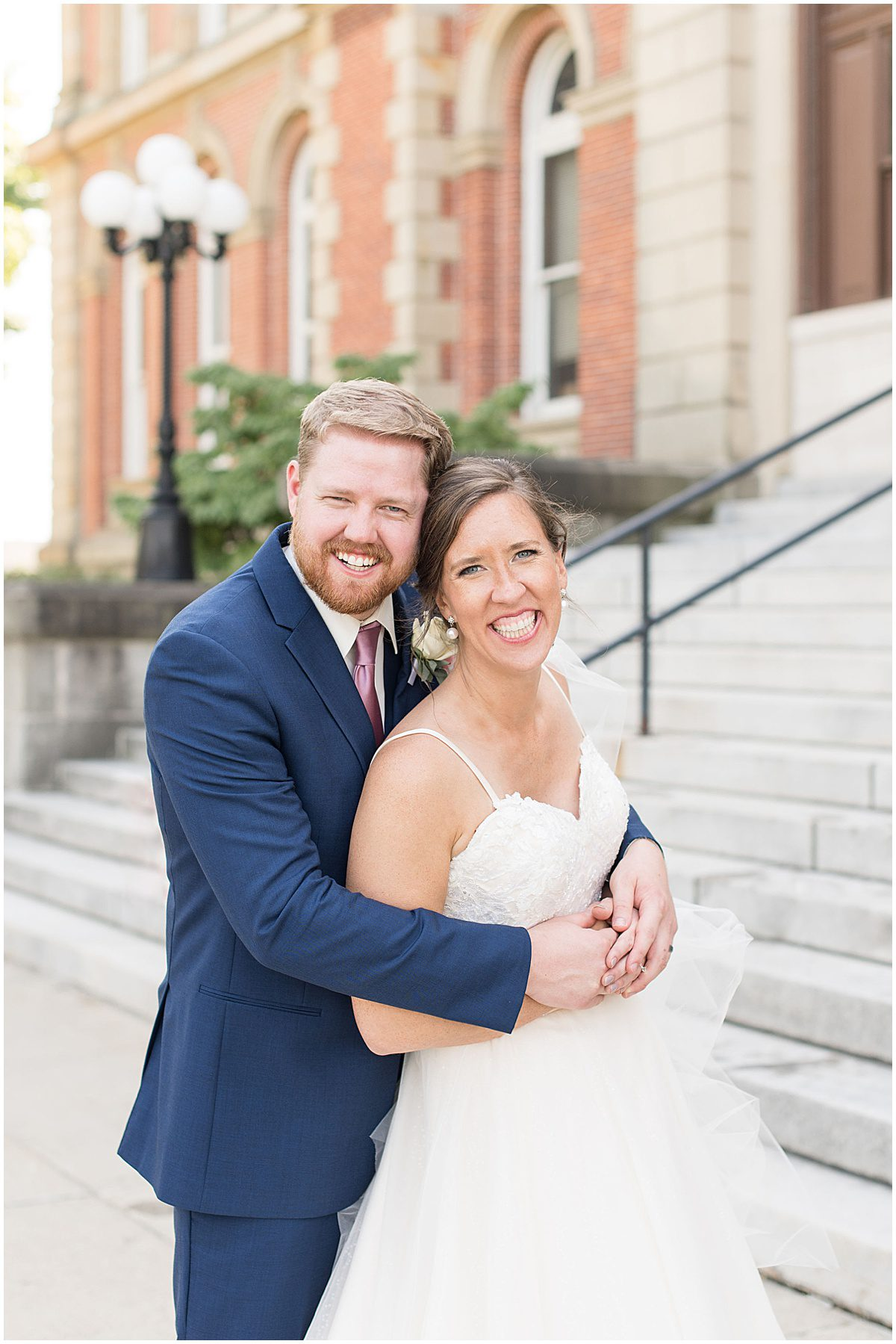 Just married photos after Spohn Ballroom wedding in Goshen, Indiana by Victoria Rayburn Photography
