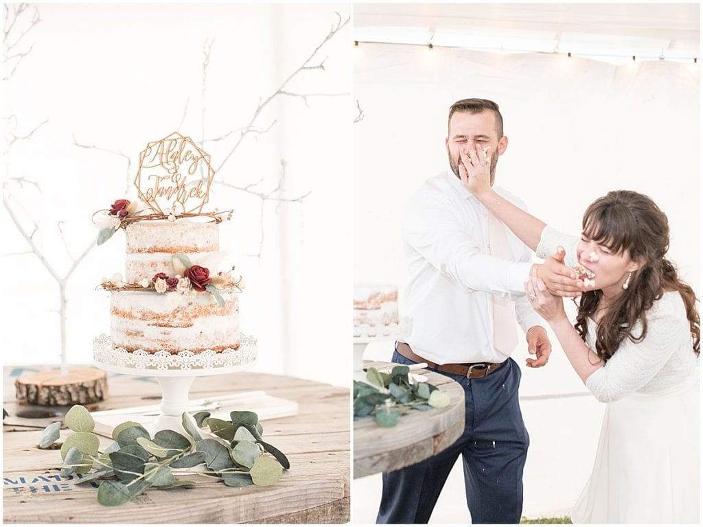 Wedding cake smash after wedding at Innovation Church in Lafayette, Indiana by Victoria Rayburn Photography