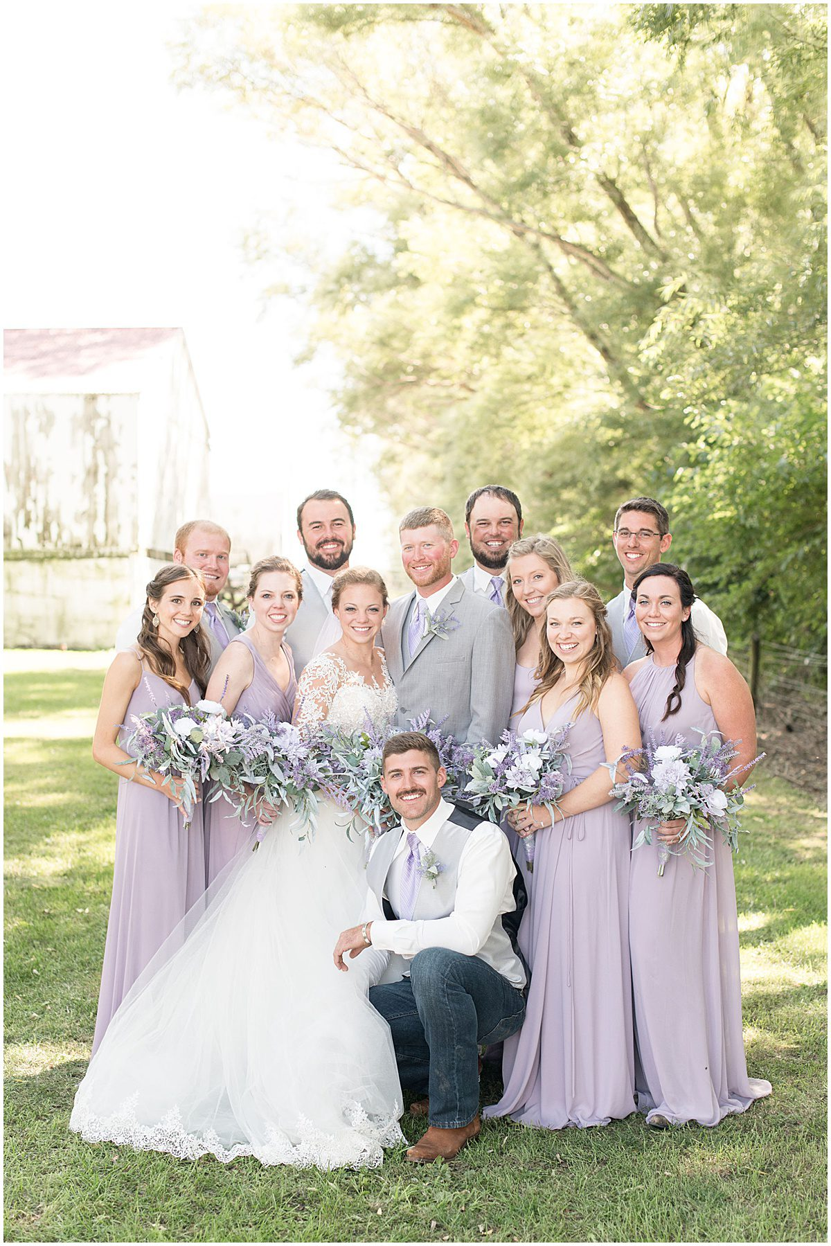 Bridal party for wedding at the Wagner Angus Barn in Wolcott, Indiana by Victoria Rayburn Photography