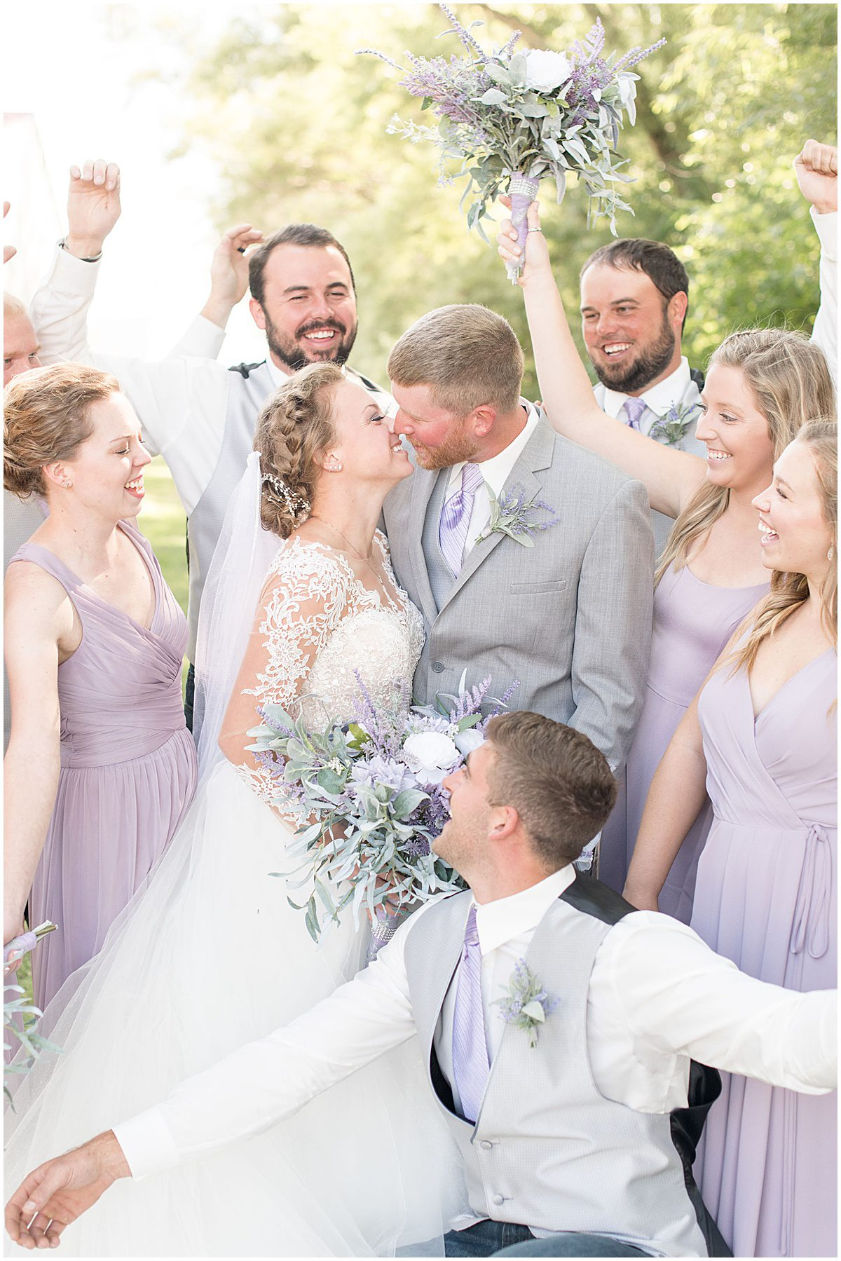 Bridal party excited for wedding at the Wagner Angus Barn in Wolcott, Indiana by Victoria Rayburn Photography