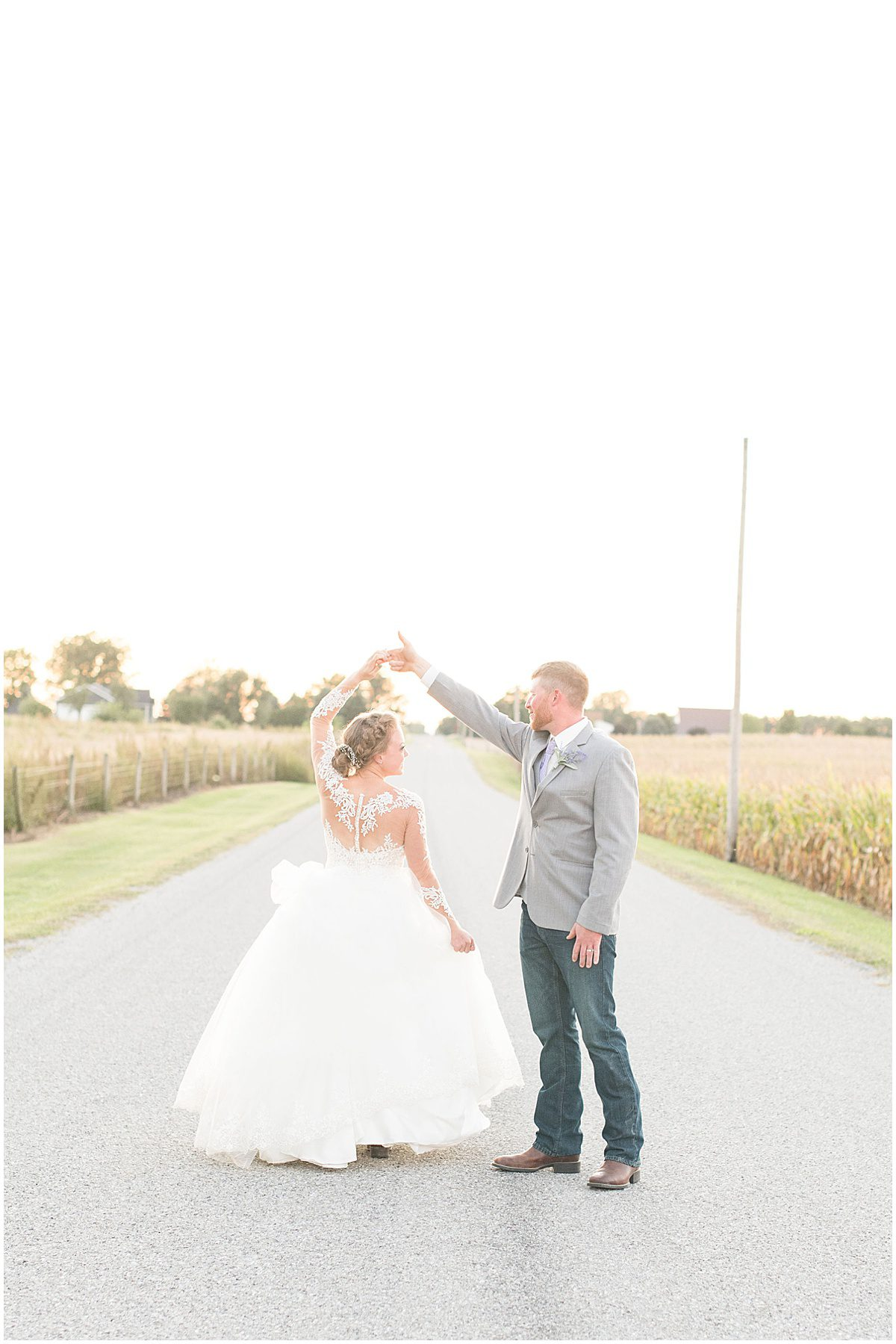 Just married photos after wedding at the Wagner Angus Barn in Wolcott, Indiana by Victoria Rayburn Photography