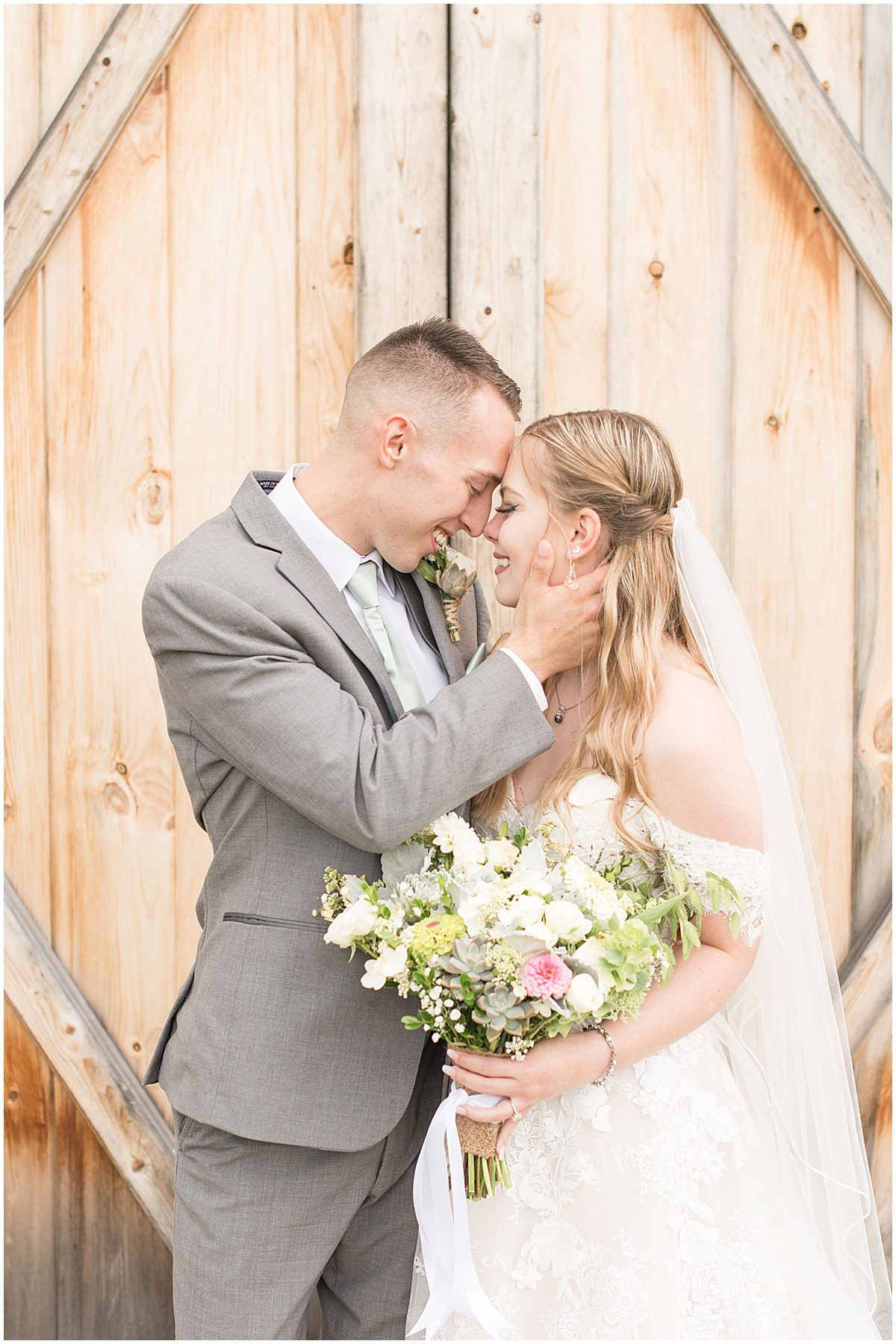 Bride and groom before Whippoorwill Hill wedding in Bloomington, Indiana by Victoria Rayburn Photography