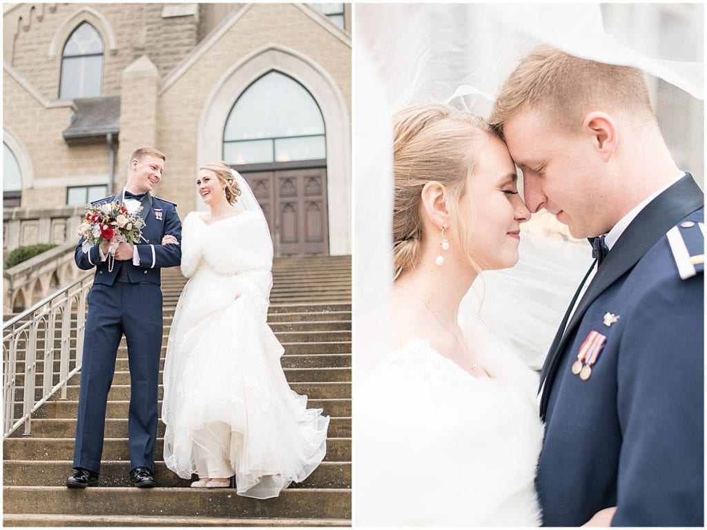 Just married photos after winter wedding at the Cathedral of Saint Mary in Lafayette, Indiana by Victoria Rayburn Photography