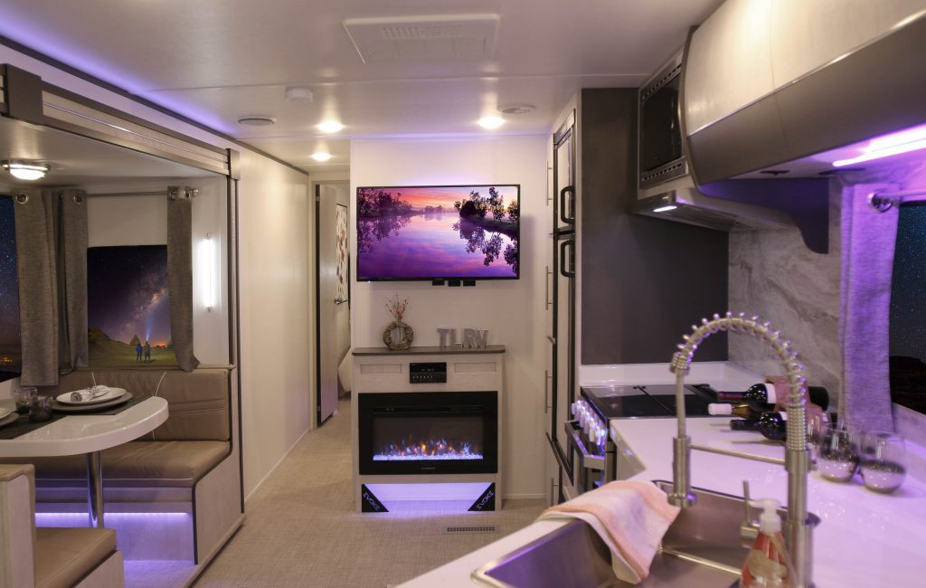 gorgeous lighting in a luxury RV