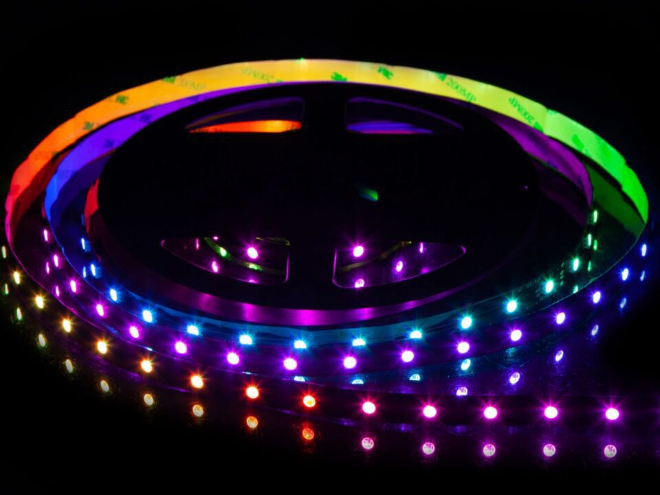 an addressable RGB LED strip with multiple colors